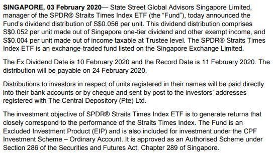 STI ETF Dividend 2020