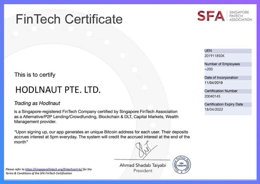 Hodlnaut FinTech Singapore Cert