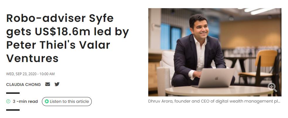 Syfe REIT+ Business Times Valar Ventures by Peter Thiel